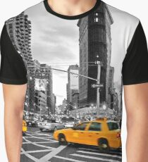 NYC Yellow Cabs Flat Iron Building Graphic T-Shirt