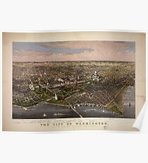Panoramic Maps The City of Washington birds-eye view from the Potomac-looking north drawn by CR Parsons Poster