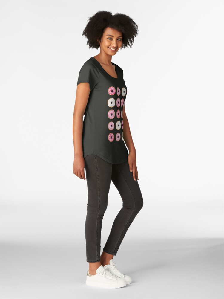 Alternate view of Pink Iced Donuts Pattern Premium Scoop T-Shirt
