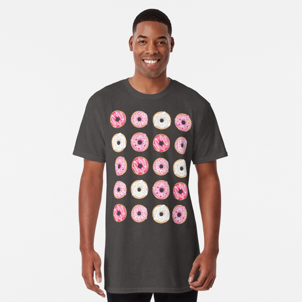 Pink Iced Donuts Pattern Long T-Shirt