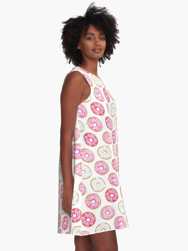 Alternate view of Pink Iced Donuts Pattern A-Line Dress