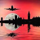 Night flight over London by shalisa