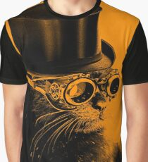 Steampunk Mojo the cat in goggles and a top hat Graphic T-Shirt