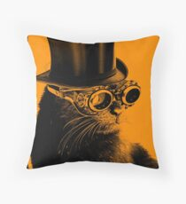 Steampunk Mojo the cat in goggles and a top hat Throw Pillow
