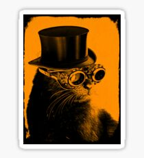 Steampunk Mojo the cat in goggles and a top hat Sticker