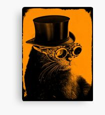 Steampunk Mojo the cat in goggles and a top hat Canvas Print