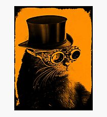 Steampunk Mojo the cat in goggles and a top hat Photographic Print
