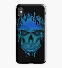 Flame Skull - Blue (2) iPhone Case/Skin
