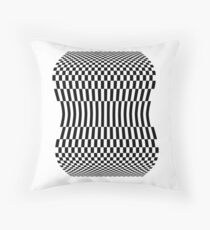 OP ART, Illusion, Black and white, checker board Throw Pillow