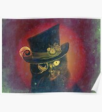 Steampunk Mojo the Cat with a top hat and a monocle Poster