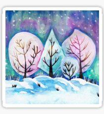 Winter Forest Painting, Watercolor Winter Art, Snow Art Winter Season Sticker