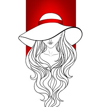 Young girl in a vintage hat on the red background by leCreati
