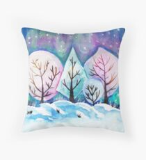 Winter Forest Painting, Watercolor Winter Art, Snow Art Winter Season Throw Pillow