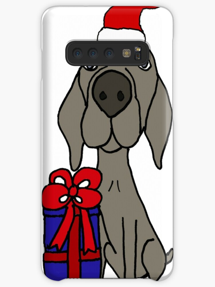 'Funny Weimaraner Dog with Christmas Gift Cartoon' Case/Skin for Samsung  Galaxy by naturesfancy