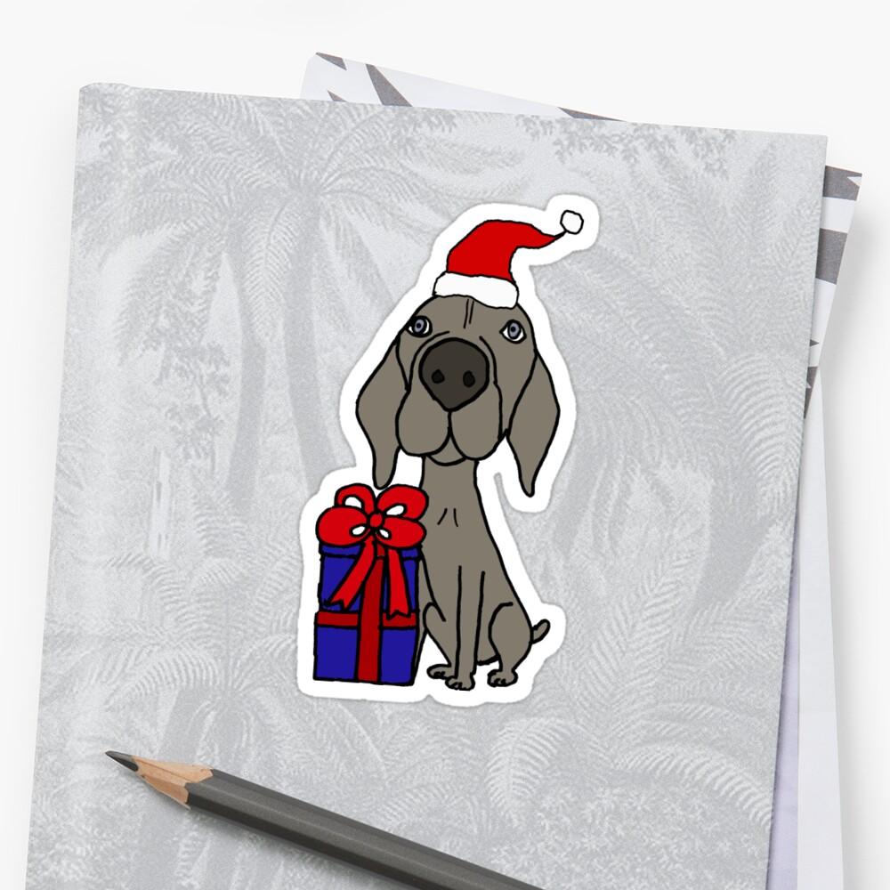 Funny Weimaraner Dog with Christmas Gift Cartoon\