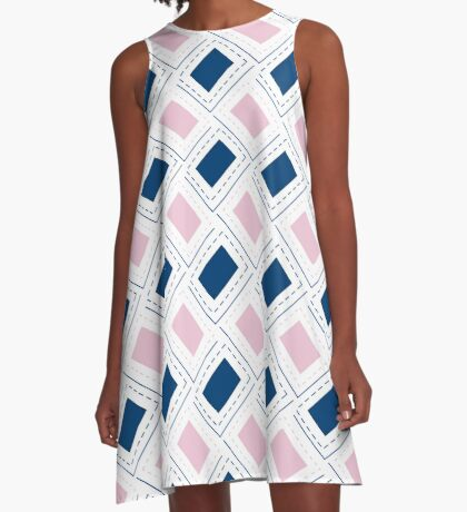 AFE Pink and Blue Pattern A-Line Dress