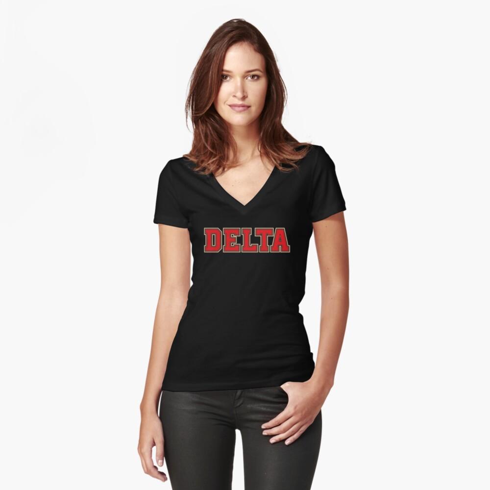Delta Jersey Theta Schriftart Tailliertes T-Shirt mit V-Ausschnitt