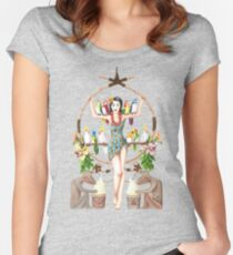Enchanted Tiki Room Pinup Women's Fitted Scoop T-Shirt