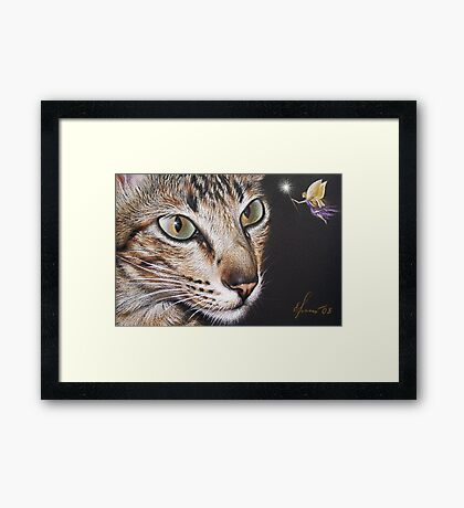Cat and fairy Framed Print