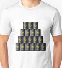 Set of Black Metal Oil Barrels Isolated on White Background T-Shirt