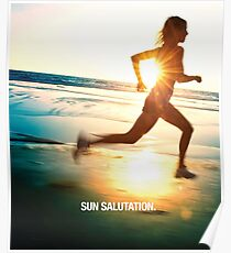 Sun Salutation-- Running on the Beach Poster