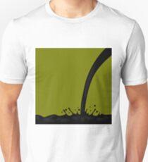 Oil Splash on Dark Green Background. Oil Droplets. Oil Splatter T-Shirt