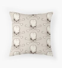 Skull and bones drawing Throw Pillow