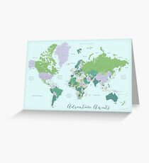 Adventure awaits world map in green & purple Greeting Card