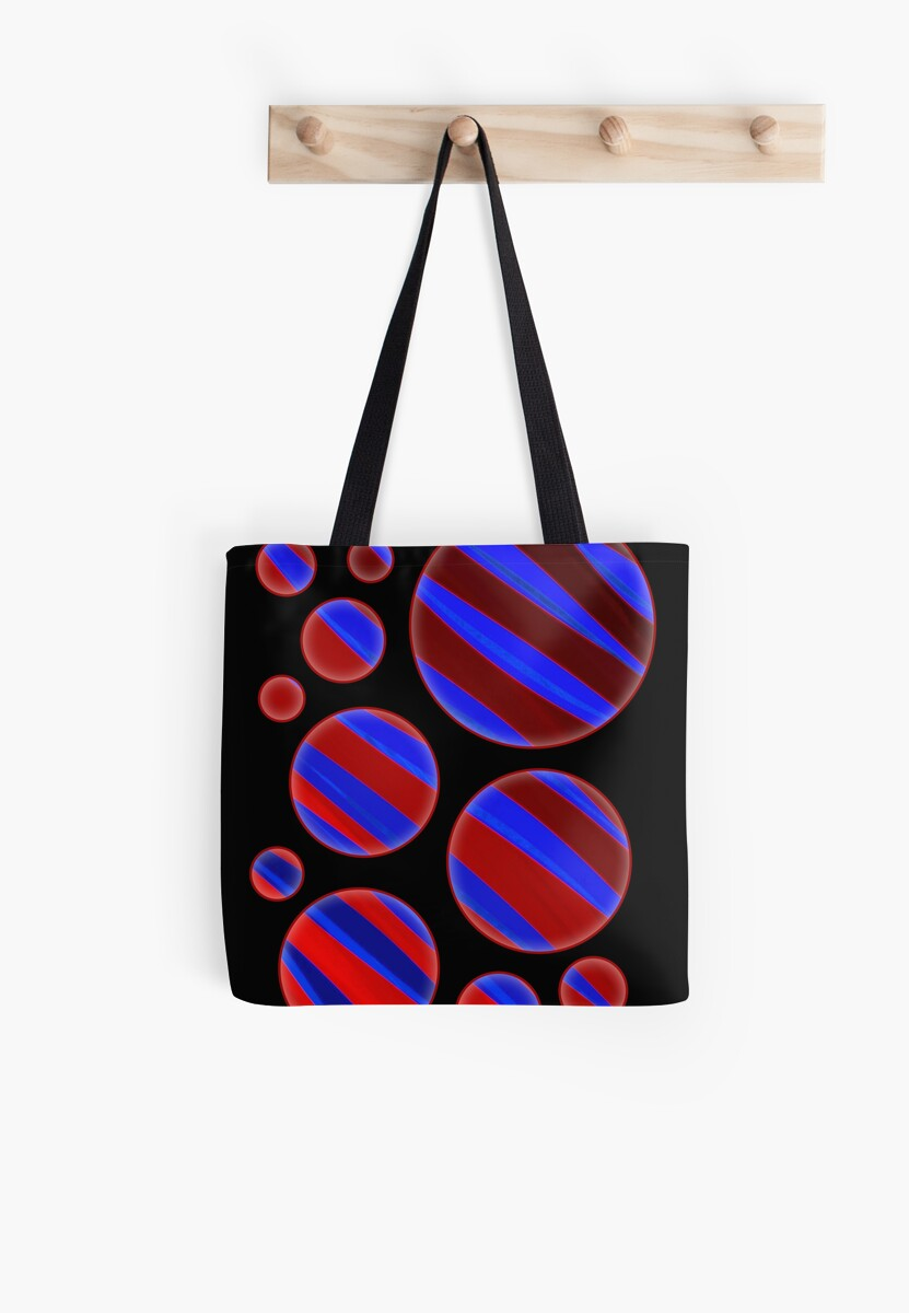 Zebra Stripes Red & Blue Bubbles by DPArtGallery