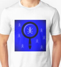 Software Testing Concept. Computer Virus. Virus Bug in Program Code. Magnifying Glass in Front. T-Shirt