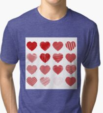 Set of Red Hearts Isolated on White Background Tri-blend T-Shirt