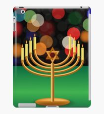 Metal Menorah with Burning Candles is on Green Table. iPad Case/Skin