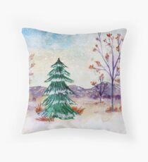 Winter Watercolor Art, Winter Christmas Tree Seasonal Snow Art, Winter Scene Throw Pillow