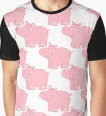Pink Hippo Graphic T-Shirt