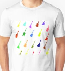Guitar Background. Set of Colorful Silhouettes of Different Guitars T-Shirt