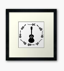 Set of Guitars Silhouettes Isolated on White Background. Guitar Frame. Framed Print