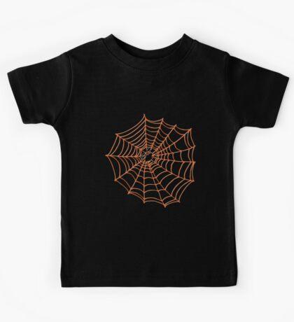 Spider Web Pattern - Black on Bright Orange - Spiderweb pattern by Cecca Designs Kids Clothes