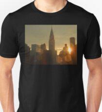 Sunset Skyline - Chrysler Building New York T-Shirt