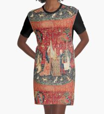 UNICORN AND LADY PLAYING ORGAN WITH ANIMALS , Hearing Graphic T-Shirt Dress