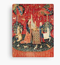 UNICORN AND LADY PLAYING ORGAN WITH ANIMALS , Hearing Canvas Print