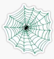 Spider Web Pattern - Black on Green - Spiderweb pattern by Cecca Designs Sticker