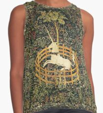 UNICORN AND GOTHIC FANTASY FLOWERS,FLORAL MOTIFS Contrast Tank