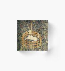 UNICORN AND GOTHIC FANTASY FLOWERS,FLORAL MOTIFS Acrylic Block