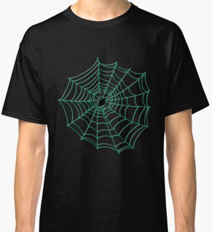 Spider Web Pattern - Black on Green - Spiderweb pattern by Cecca Designs Classic T-Shirt