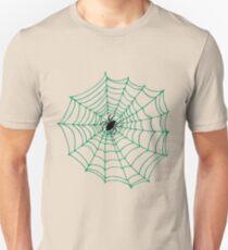 Spider Web Pattern - Black on Green T-Shirt
