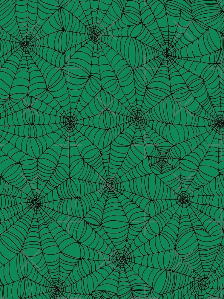 Spider Web Pattern - Black on Green - Spiderweb pattern by Cecca Designs by Cecca-Designs