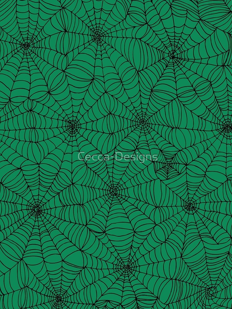 Spider Web Pattern - Black on Green - Spiderweb pattern by Cecca Designs by Cecca-Designs
