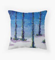 Starry Winter Painting, Snow Trees Winter Christmas Art, Tree Snow art Throw Pillow
