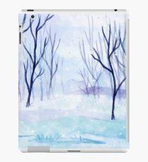 Winter Forest Watercolor Art, Snow Winter Seasonal Forest Art iPad Case/Skin