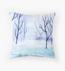Winter Forest Watercolor Art, Snow Winter Seasonal Forest Art Throw Pillow